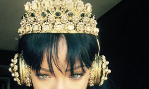 Rihanna wearing D&G headphones, which immediately sold out after she posted the picture. Photograph: @rihanna/Twitter